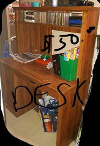 Used Brown Wooden Computer Desk With Hutch For Sale In