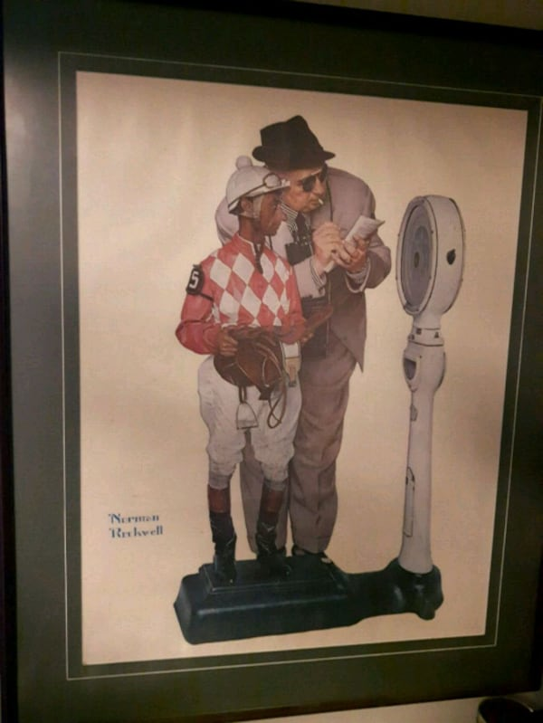 man and jockey by Rockwell in wooden frame fc7f07ec-9d44-4d36-8b26-a8f3a4f1fa6b
