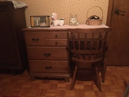Wood desk and chair negotiable