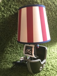 gray,black, and red table lamp