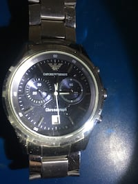Round silver chronograph watch with link bracelet Los Angeles, 90038