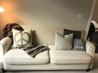 Cream beige linen sofa / couch with nailheads (beautiful!) Houston, 77027