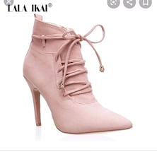 LALA IKAI Rose-Gold Winter Suede Heeled Boots.