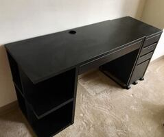 IKEA Micke Desk Black/Brown with Storage and Filing Cabinet/Wheels