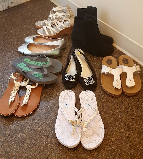Size 9 sandals & heels lot, most brand new!
