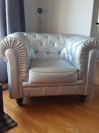 Silver leather look chair