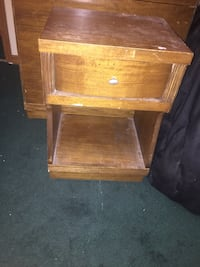 Brown wooden nightstand and full size bed and box spring  Deltona, 32738