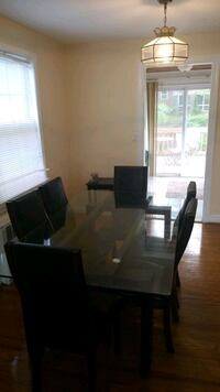 Glass Table with 6 Chairs Silver Spring