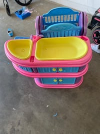 Toy baby changing table and crib bath set