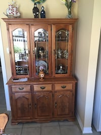 Solid wood kitchen table with buffet and hutch