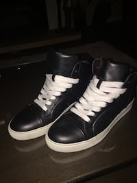 LANVIN black leather and white laced up high tops from Italy. Size 9 and never been worn. North Vancouver, V7L