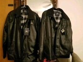 black and gray leather zip-up jacket