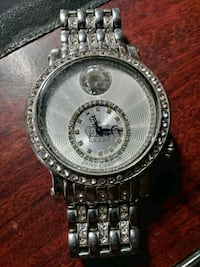 round silver-colored chronograph watch with link bracelet Tulare, 93274