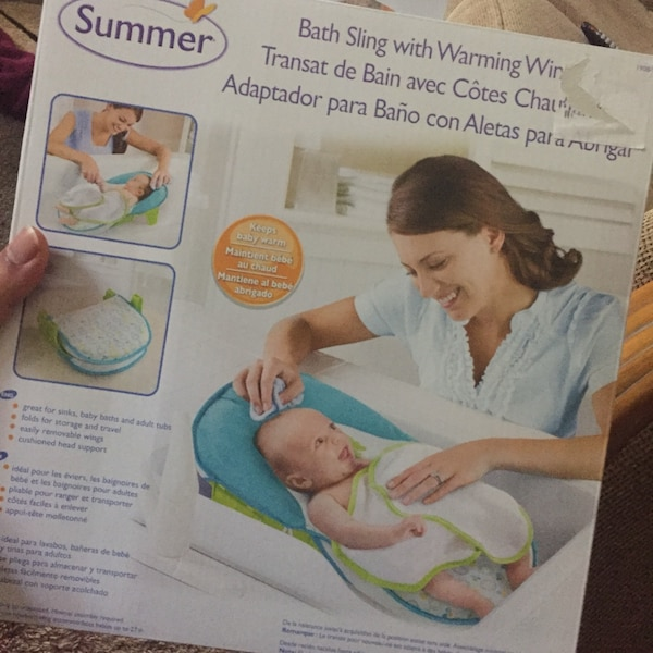 86a16f9a94a Used Summer Infant Bath Sling with warming wings for sale in Hampton ...