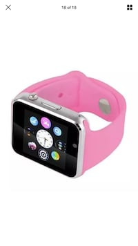 Pink and black smart watch