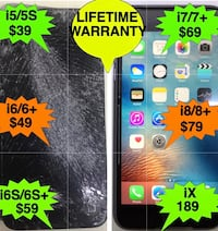 BRAND NEW SCREEN ON ALL iPhone Cracked Screen at Store in 10 minutes with LIFETIME WARRANTY FREE TEMPERED GLASS SCREEN PROTECTOR  Charlotte, 28214