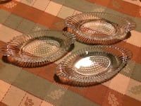 Lot of 3 old oval etched glass boat dishes! Hazleton