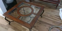 brown wooden framed glass top table Richmond Hill, L4E