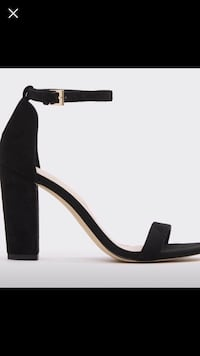 unpaired black leather open-toe ankle strap stiletto Calgary, T2A