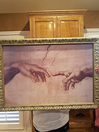 brass-framed painting of The Creation of Adams by Michelangelo Lubbock, 79424