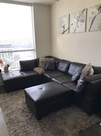 Dark brown sectional with ottoman and 2 pillows Toronto, M5P 0A1
