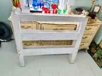 Shabby chic white washed solid wood TWIN headboard and footboard Kensington, 20895