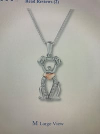 Silver-colored clear gemstone dog pendant necklace Rosedale