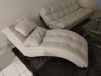 Dilleston Upholstered Leatherette Chaise White Miami