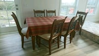 rectangular brown wooden table with six chairs din Surrey, V4N 6C9