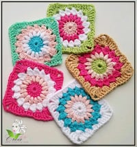 white, pink, and green floral knitted doily Springfield, 22150