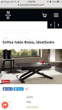 Italian IdealSedia convertible coffee table to dinning table for 8! Toronto, M5B 2J5
