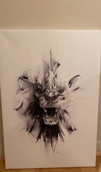Canvas wall art - abstract edgy lion face
