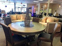 round brown wooden table with six chairs dining set Houston, 77092