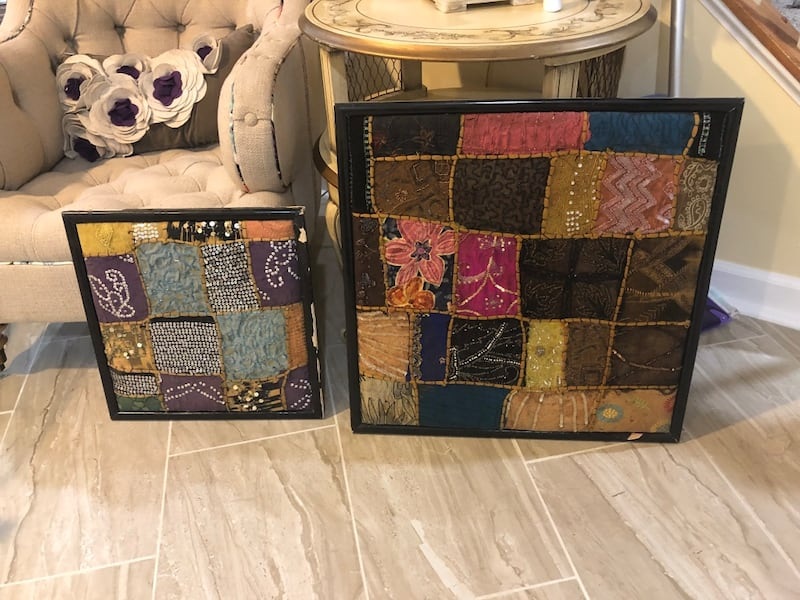 Set of two handmade Indian upholstered wall art with two matching pillow cases. 3899393d-cc43-4408-b8fe-0a7b686b42a7