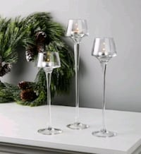 BRAND NEW 3PC Fare Glass Tealight Holders