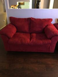 red fabric 2-seat sofa