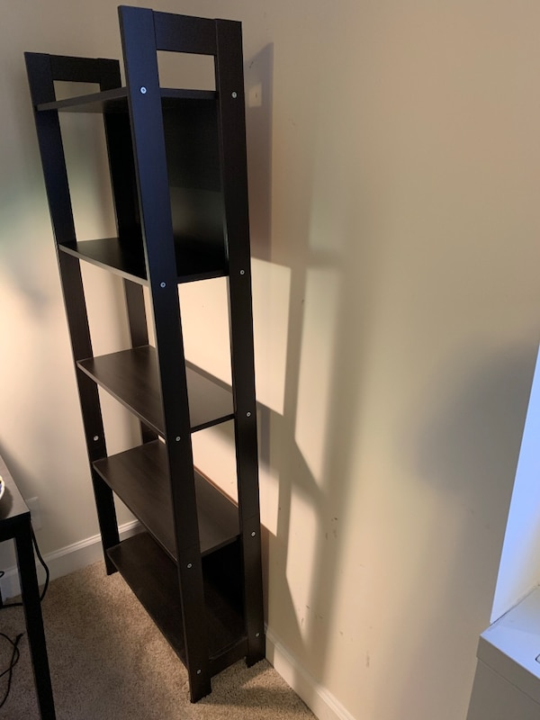 black wooden 5-layer shelf