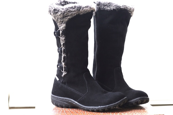 black suede fur-lined boots