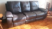 Brown Leather Recliner Sofa Johnston, 02919