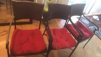 Three brown wooden framed red padded chairs Greenbelt, 20770