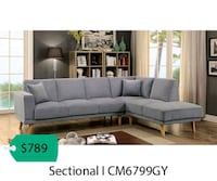 gray suede sectional sofa with throw pillows La Mirada