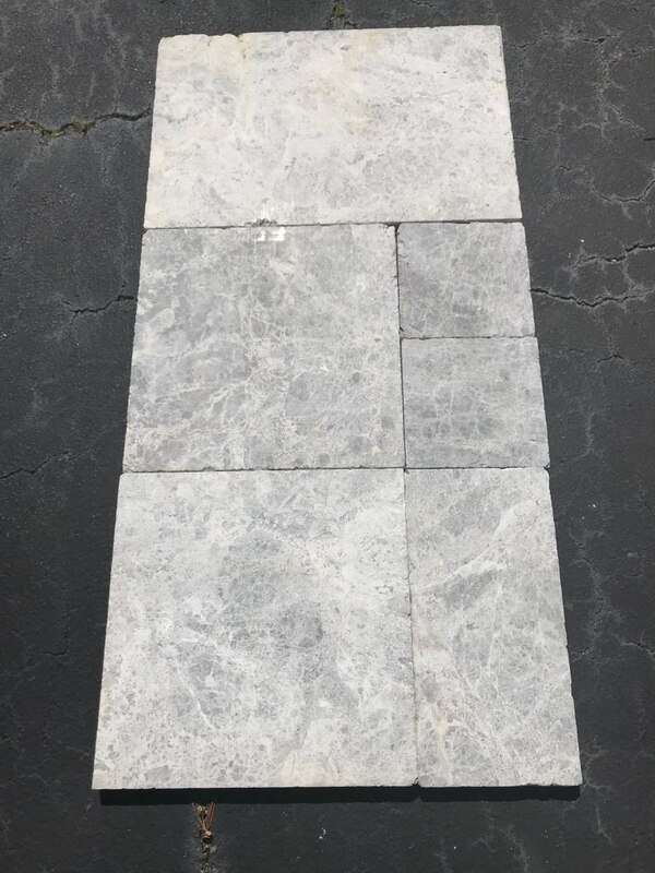 Natural Stone Silver grey marble pavers French Pattern tumbled edged  $2 99/SQF