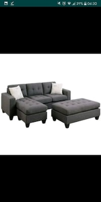 gray fabric sectional sofa with ottoman Austin