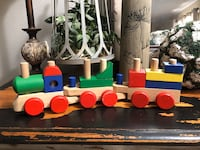 Wooden toy block train