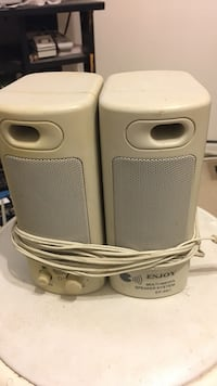 Two white and gray portable speakers Upper Marlboro, 20774