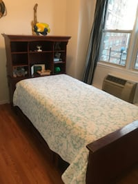 Twin bed with storage drawers and mattress