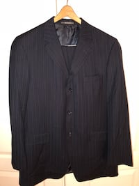 black notch lapel suit jacket Clinton