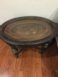 Antique Art Side Table - Gorgeous wood design under glass