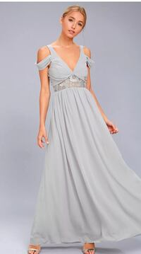 women's gray off-shoulder pleated gown Danbury, 06810