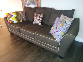 Chocolate Fabric Creme Sofa